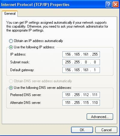 Local Area Connection TCP/IP settings