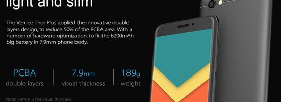 Vernee Thor Plus – smartphone cu baterie de 6300 mAh